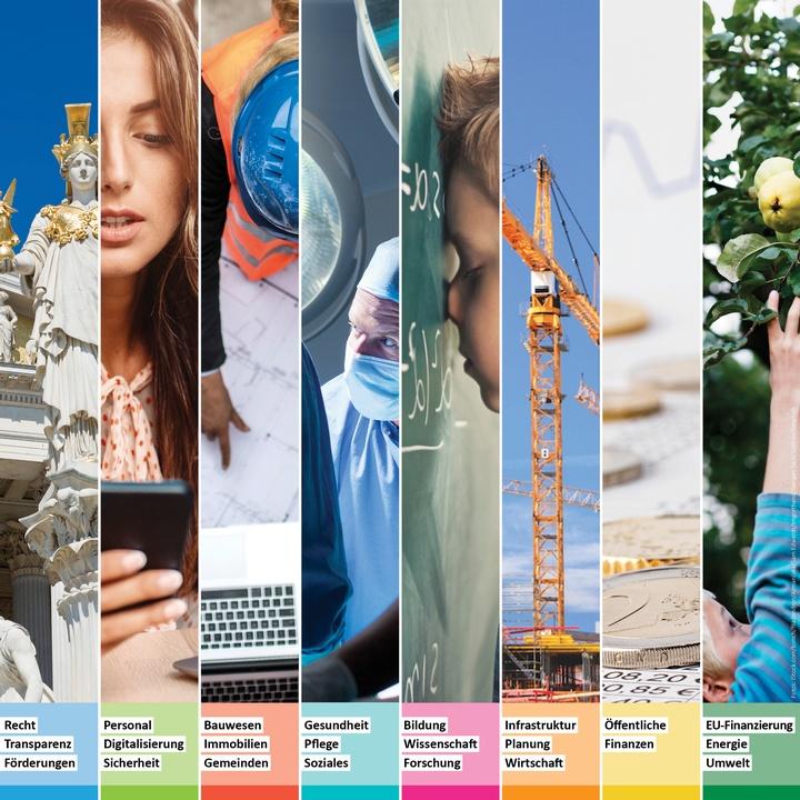 Übersicht Prüfbereiche des Rechnungshofes  - Copyright: iStock.com/Grafner/AzmanJaka/bergh/filadendron/Imgorthand/Juergen Sack/Sam Edwards/tomch