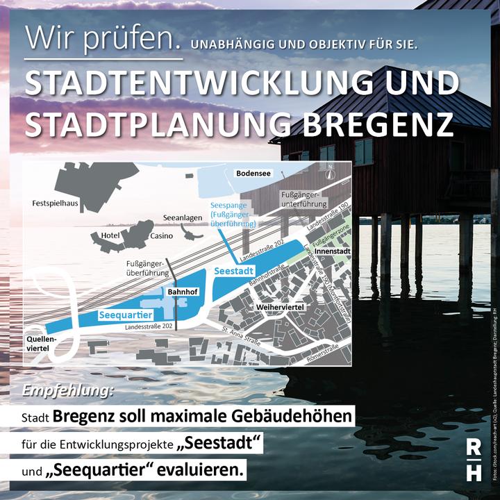 Karte zeigt Stadtteil von Bregenz und die geplanten Areale - Copyright: iStock.com/reach-art (x2); Quelle: Landeshauptstadt Bregenz; Darstellung: RH